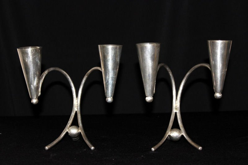 Pair of Mid-Century Modernist Sterling Candlesticks - 4
