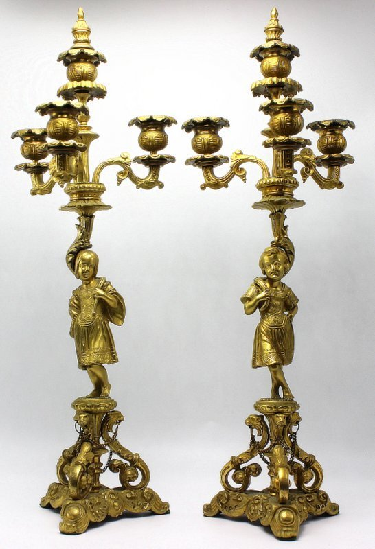 Pair of Antique French Gilt Bronze 3-Light Candelabras
