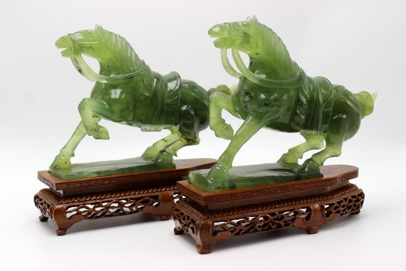 Pair of Chinese Carved Nephrite Jade Horse Sculptures
