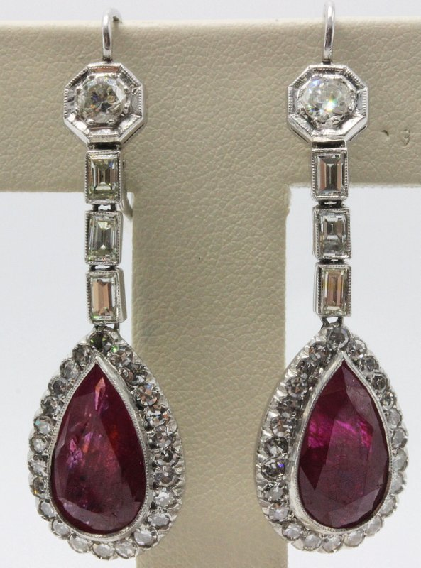 Platinum Deco 8.20ct. Ruby & 2.75ct. Diamond Earrings