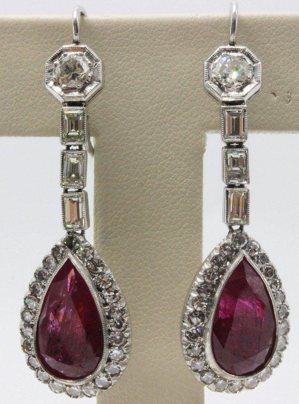 Platinum Deco 8.20ct. Ruby & 2.75ct. Diamond Earrings