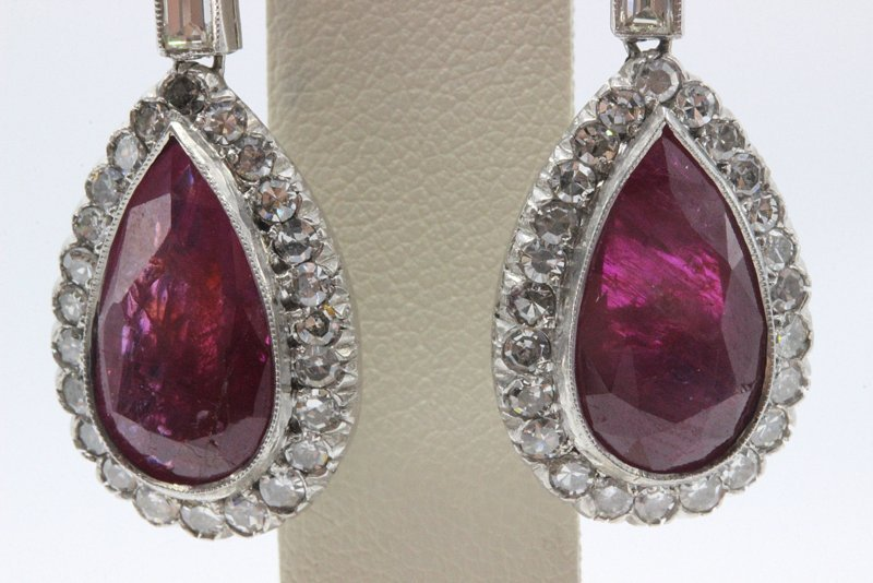 Platinum Deco 8.20ct. Ruby & 2.75ct. Diamond Earrings - 2