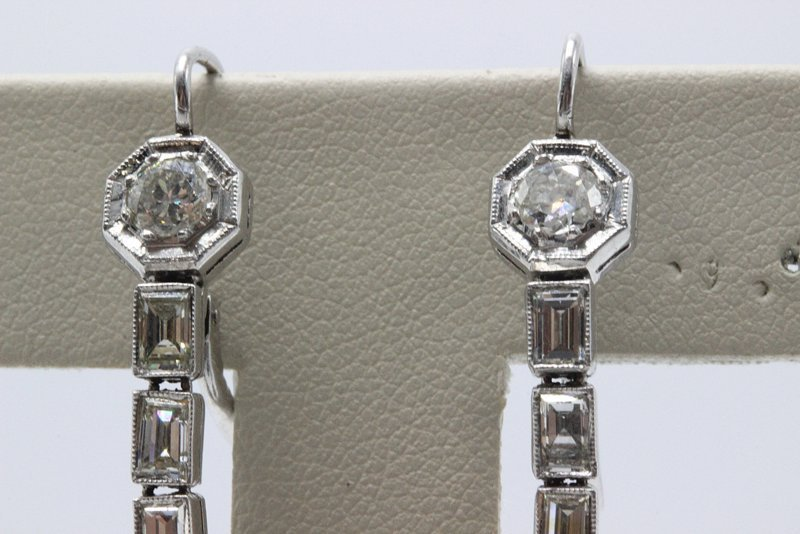 Platinum Deco 8.20ct. Ruby & 2.75ct. Diamond Earrings - 3