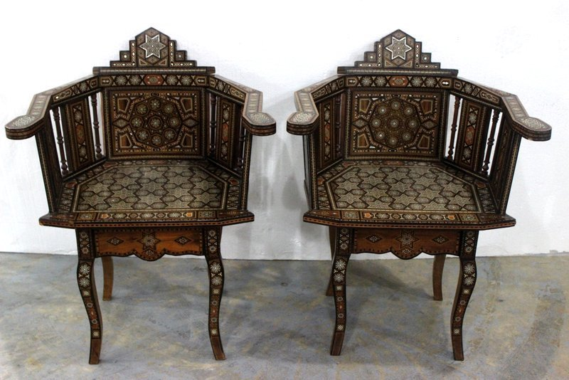 Pair of Beautiful Moroccan Inlaid Chairs
