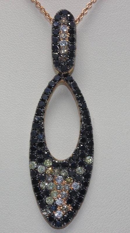 18Kt RG 3.57ct. Diamond Pendant w/ Necklace