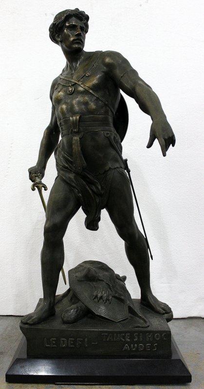After E. Picault French Metal Warrior Sculpture