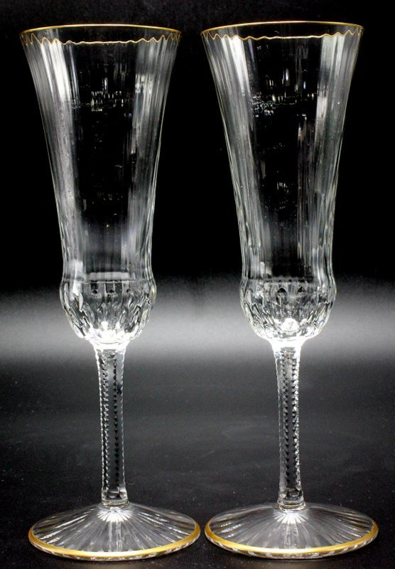 """8 Pc. St. Louis """"Apollo Gold"""" Crystal Champagne Flutes"""