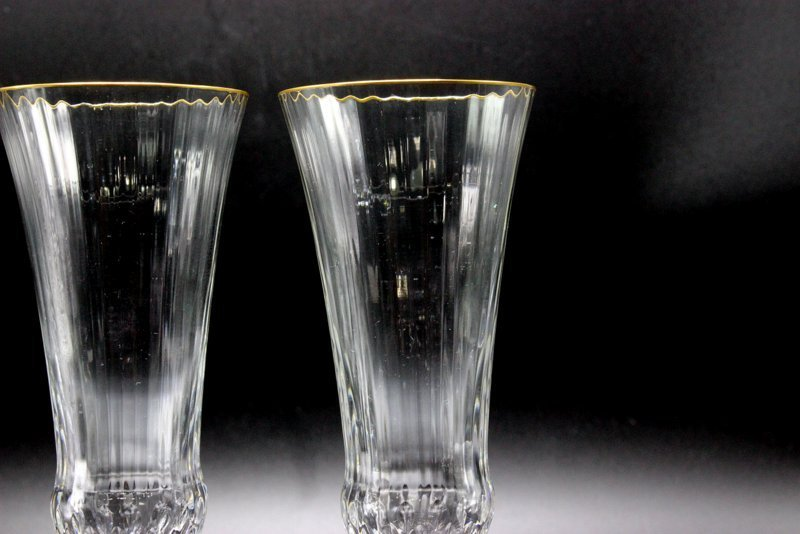 """8 Pc. St. Louis """"Apollo Gold"""" Crystal Champagne Flutes - 2"""