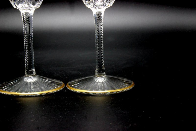 """8 Pc. St. Louis """"Apollo Gold"""" Crystal Champagne Flutes - 4"""