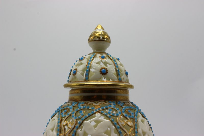 Beautiful German Reticulated Porcelain & Turquoise - 2