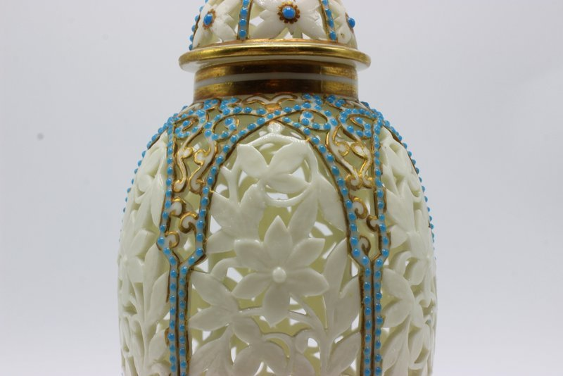 Beautiful German Reticulated Porcelain & Turquoise - 3
