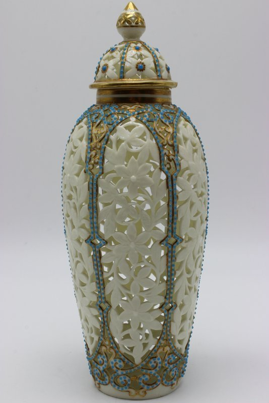 Beautiful German Reticulated Porcelain & Turquoise - 6