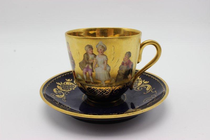Antique Royal Vienna Hand Painted Porcelain Tea Cup &