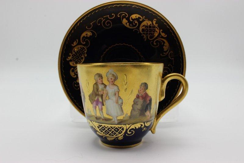 Antique Royal Vienna Hand Painted Porcelain Tea Cup & - 2