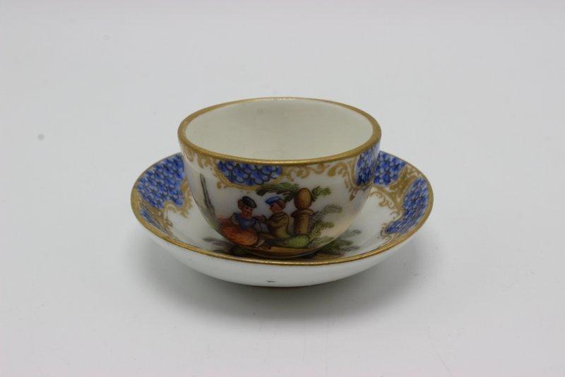 Meissen Miniature Hand Painted Porcelain Tea Cup &