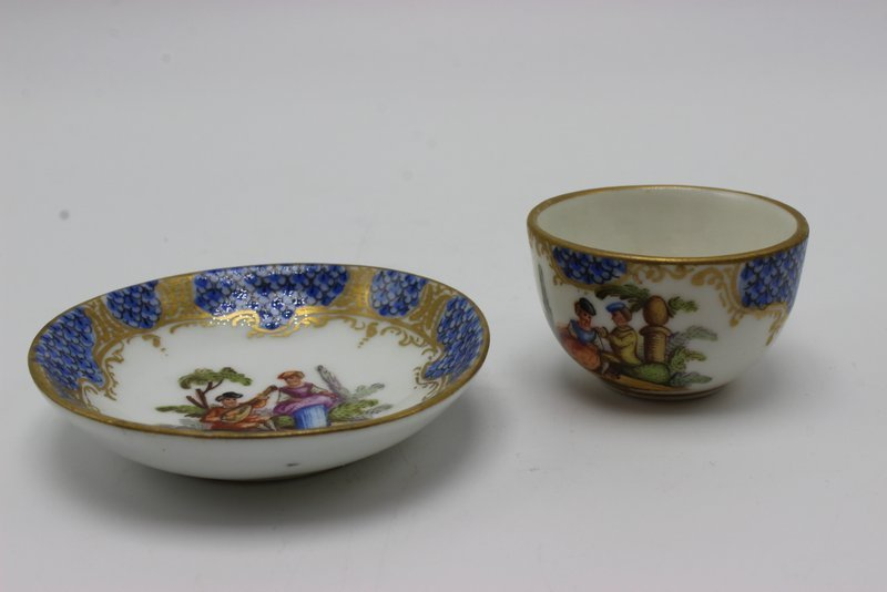 Meissen Miniature Hand Painted Porcelain Tea Cup & - 2