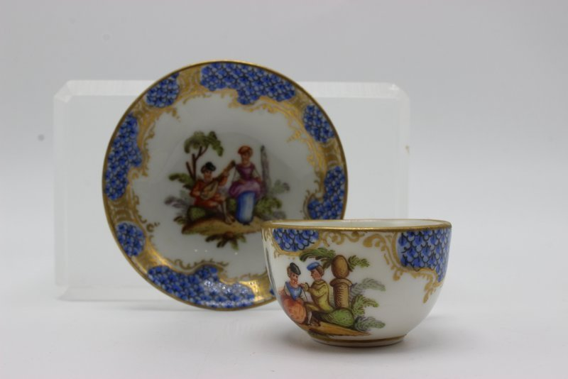 Meissen Miniature Hand Painted Porcelain Tea Cup & - 3