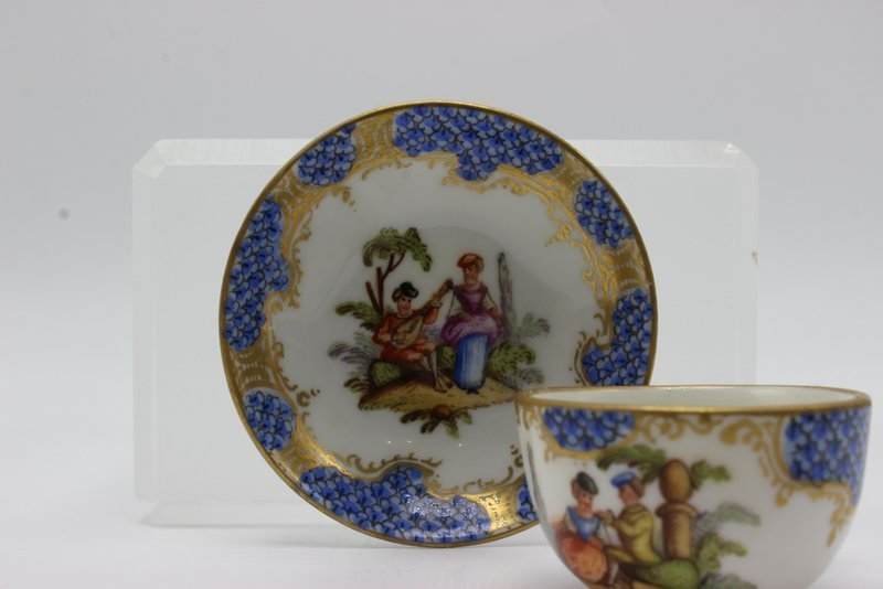 Meissen Miniature Hand Painted Porcelain Tea Cup & - 4