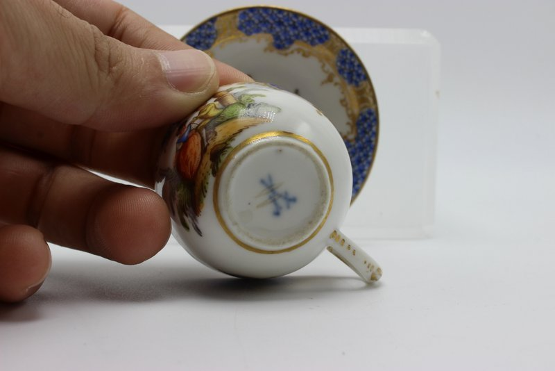 Meissen Miniature Hand Painted Porcelain Tea Cup & - 5