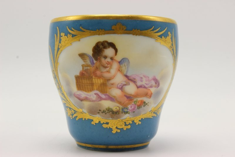 French Hand Painted Porcelain Portrait Cup