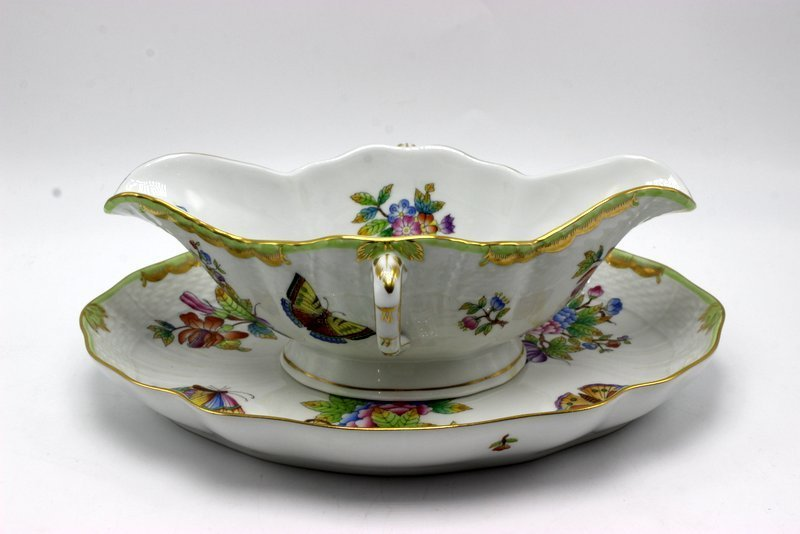 """Herend """"Queen Victoria"""" Porcelain Gravy Boat &"""