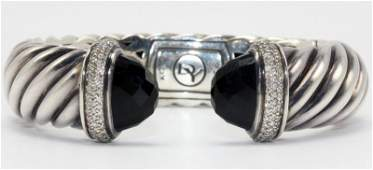 David Yurman Sterling Onyx  Diamond Bangle