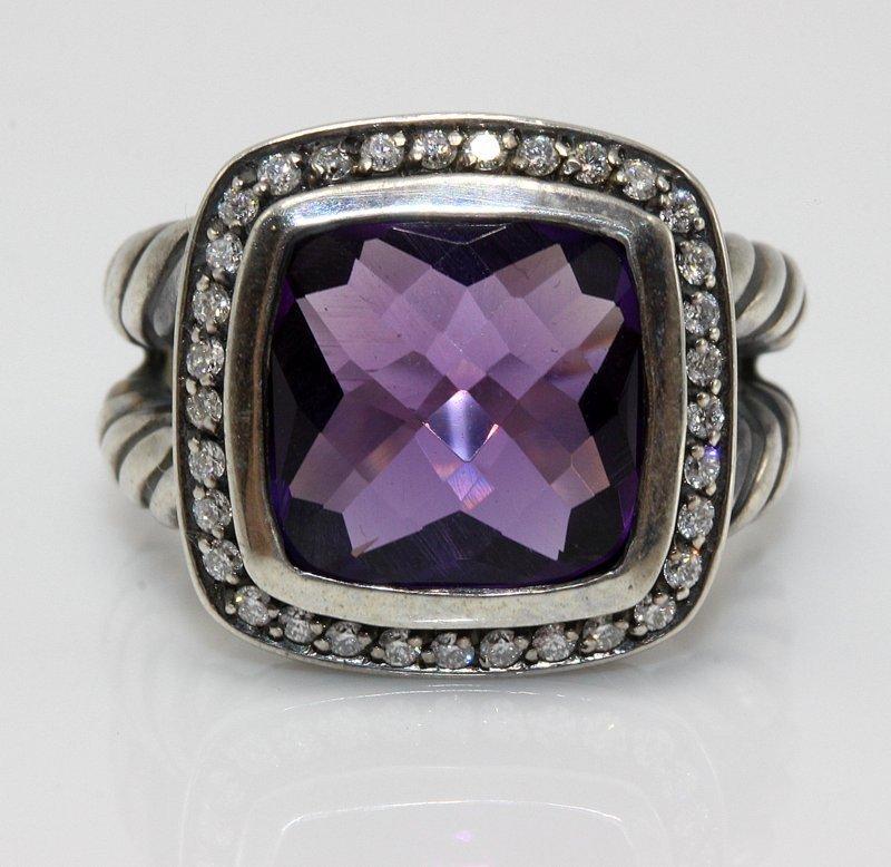 David Yurman Sterling Amethyst & Diamond Ring