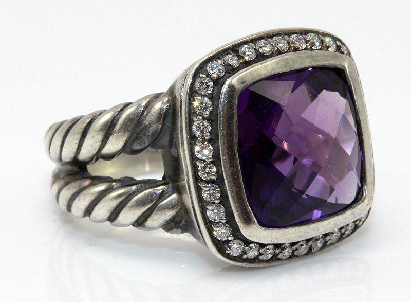 David Yurman Sterling Amethyst & Diamond Ring - 2