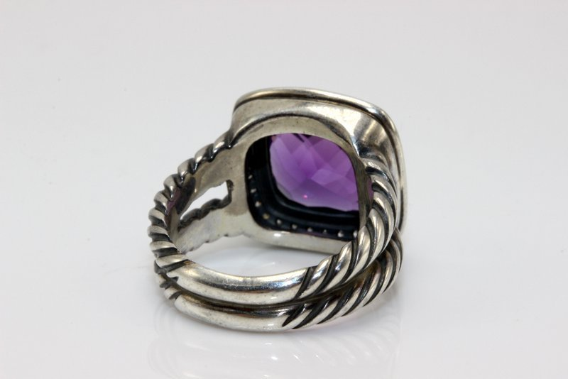 David Yurman Sterling Amethyst & Diamond Ring - 3