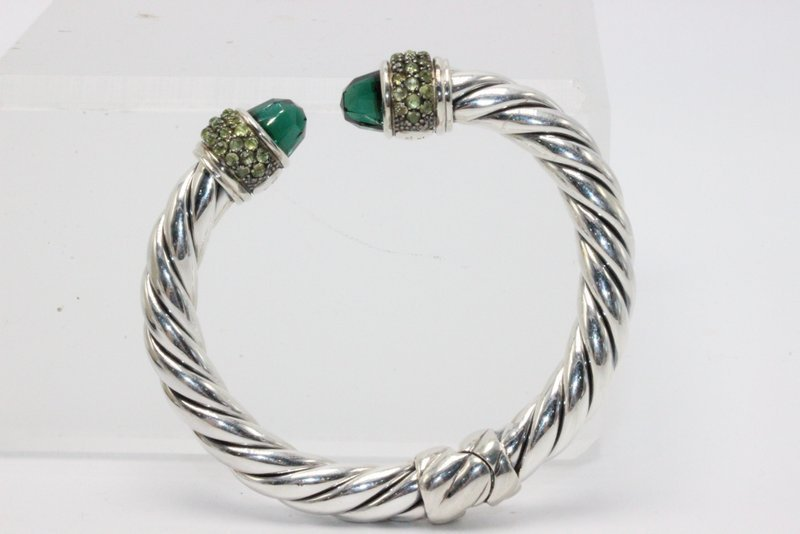 David Yurman Green Amethyst Sterling Cable Bangle - 3