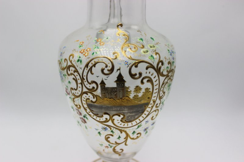 Hand Painted Glass Pitcher - 2