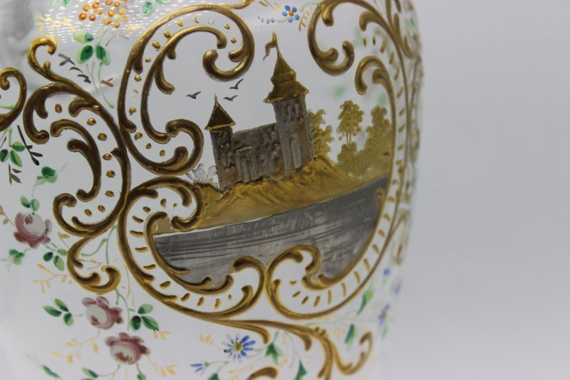 Hand Painted Glass Pitcher - 4