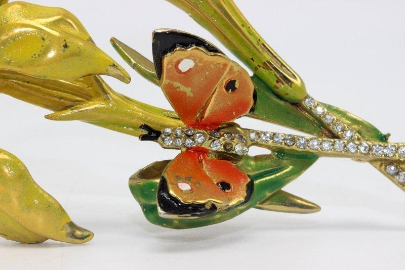 Marvella Enamel Butterfly Costume Brooch - 2