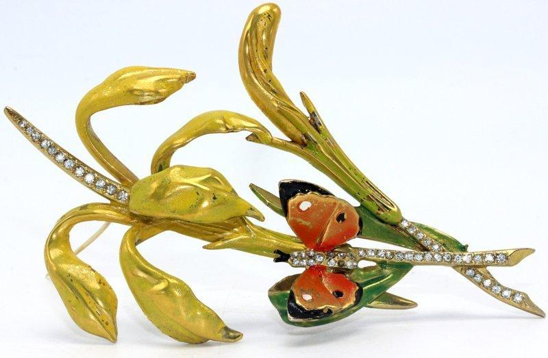 Marvella Enamel Butterfly Costume Brooch - 3