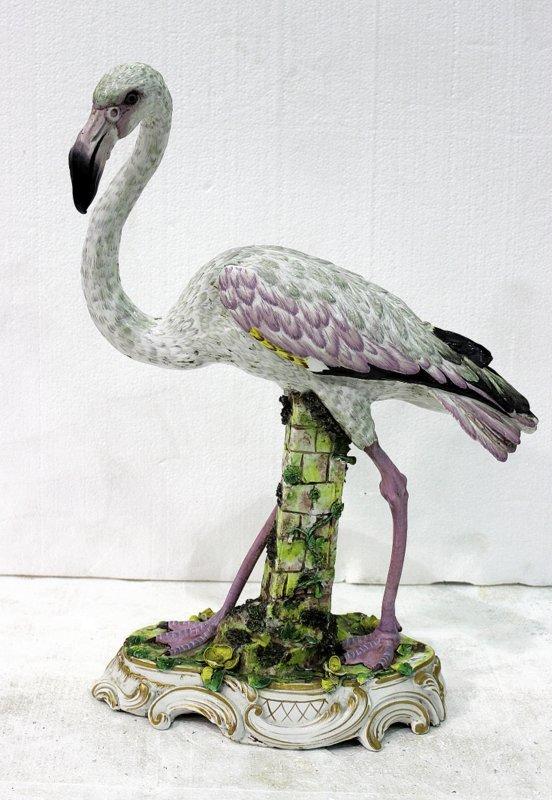 Rare Meissen Hand Painted Porcelain Flamingo Figure