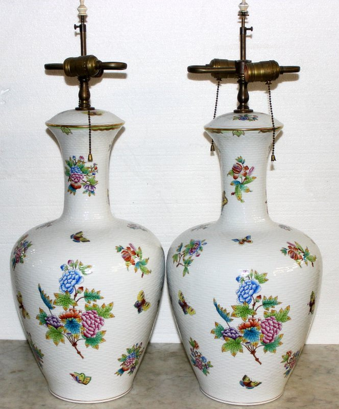 "Pair of Rare Herend ""Queen Victoria"" Porcelain Lamps"