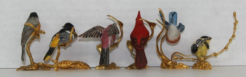 6 Pc. Boehm Miniature Porcelain Birds on Branches - 2