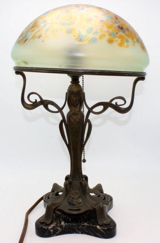 Antique Art Nouveau Bronze Hand-Decorated Iridescent