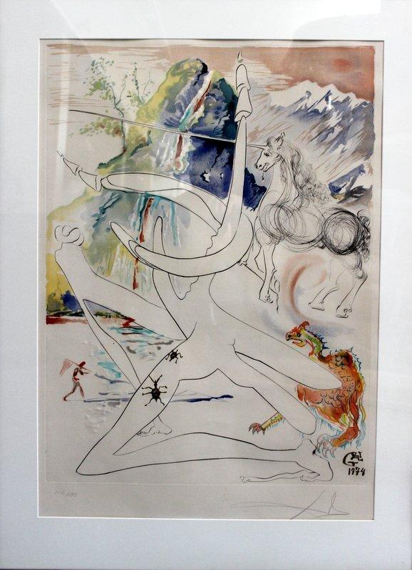 Salvador Dali Embossed Etching