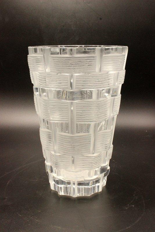 Lalique Basket Weave Crystal Vase