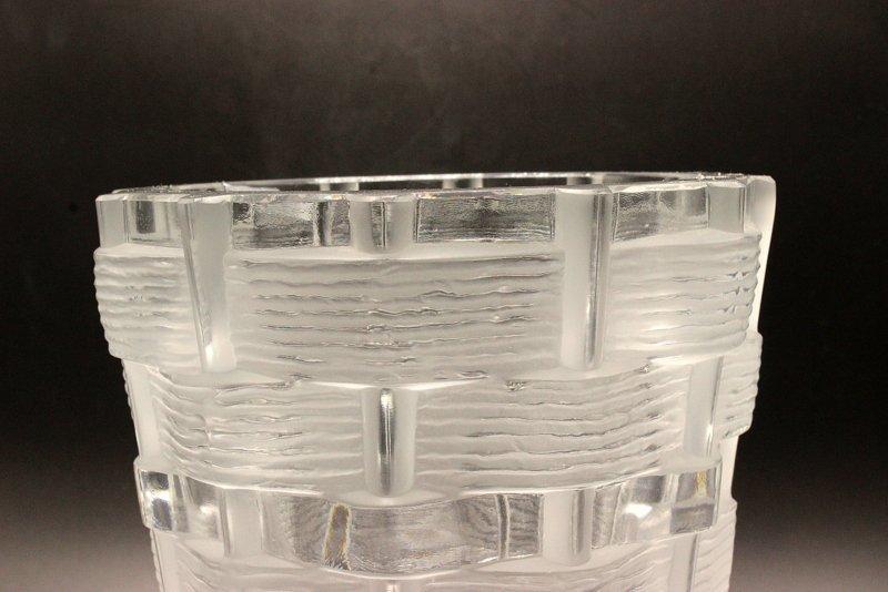 Lalique Basket Weave Crystal Vase - 2