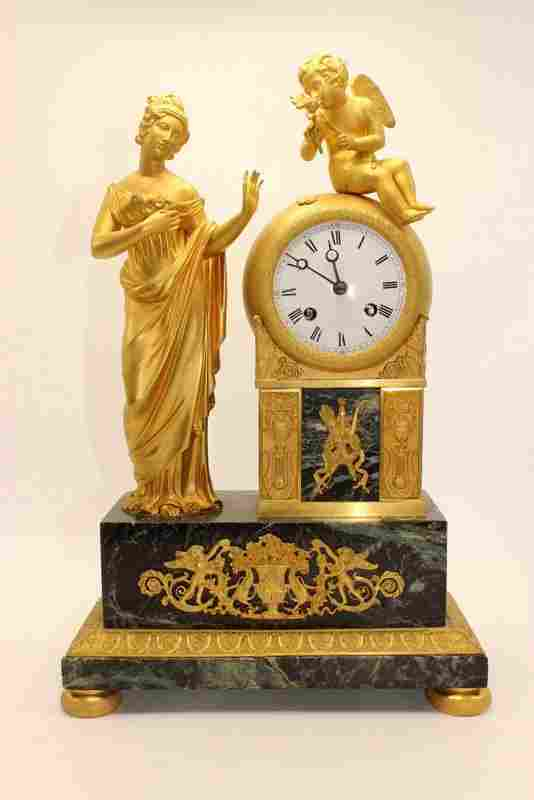 19th C. French Dore Bronze & Marble Mantle Clock