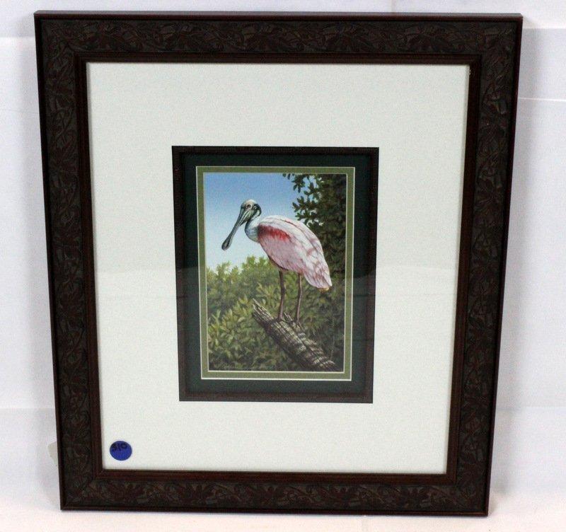 "Ernest C. Simmons Watercolor ""Roseate Spoonbill"""