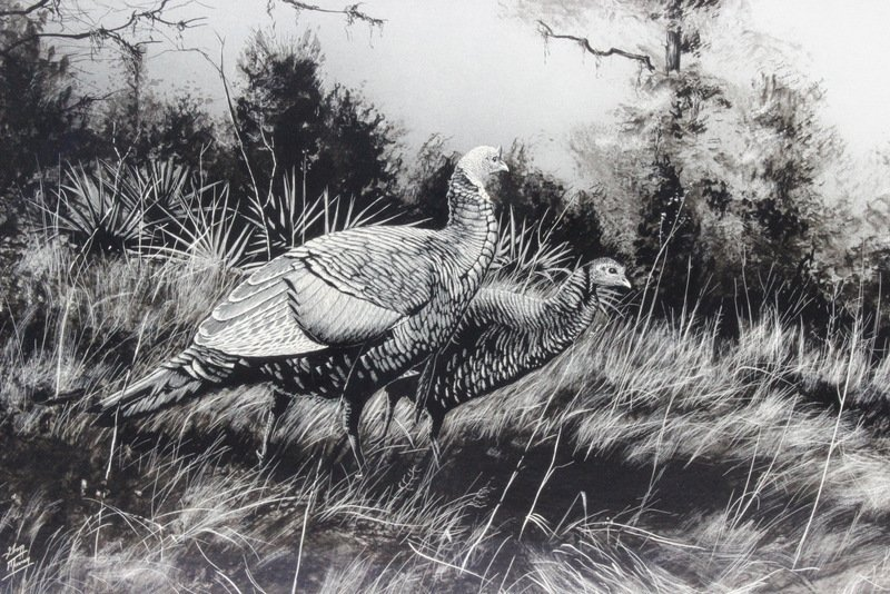 "Gregg Murray Etching ""Pheasants"" - 2"