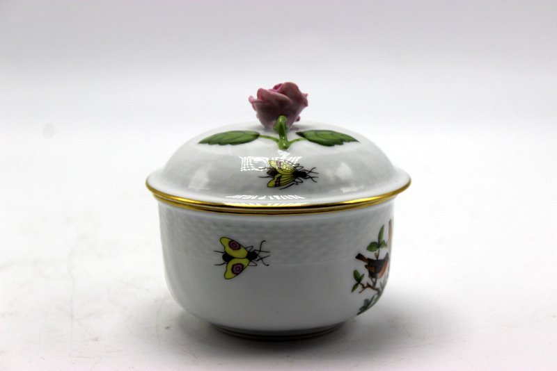 "Herend ""Rothschild"" Porcelain Covered Sugar Bowl & with"