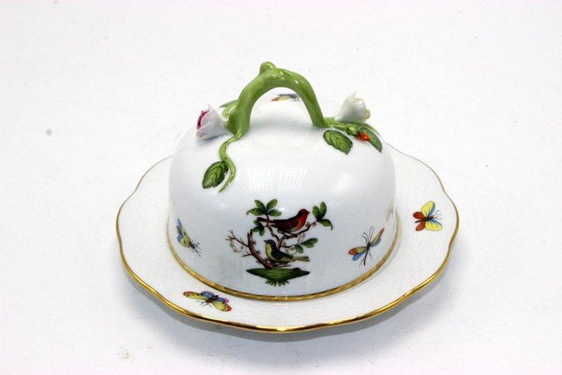 "Herend ""Rothschild"" Bird Porcelain Covered Butter Dish"