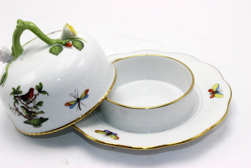 "Herend ""Rothschild"" Bird Porcelain Covered Butter Dish - 3"