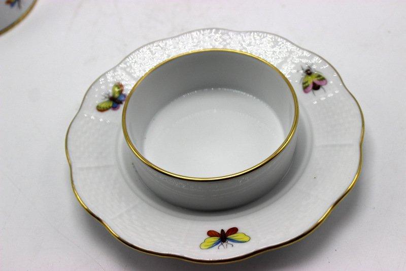 "Herend ""Rothschild"" Bird Porcelain Covered Butter Dish - 4"