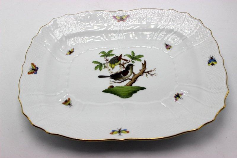 "Herend ""Rothschild"" Birds Porcelain Oblong Porcelain"