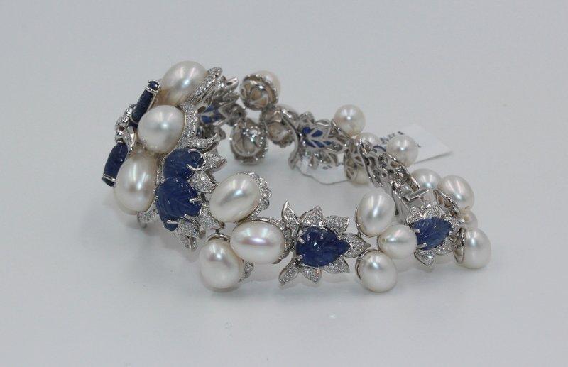 18Kt WG 3.12ct. Diamond & 23.58 Sapphire Bracelet - 2